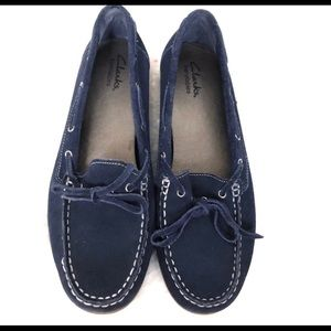 Clarks blue suede marine loafers